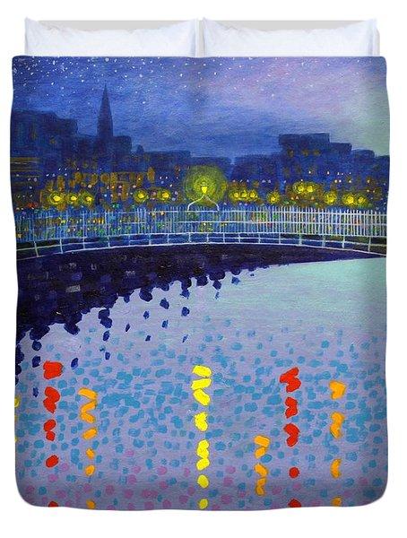 Starry Night In Dublin Half Penny Bridge Duvet Cover by John  Nolan