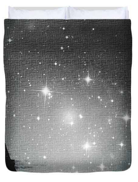 Starry Night In Paris - Eiffel Tower Photography  Duvet Cover