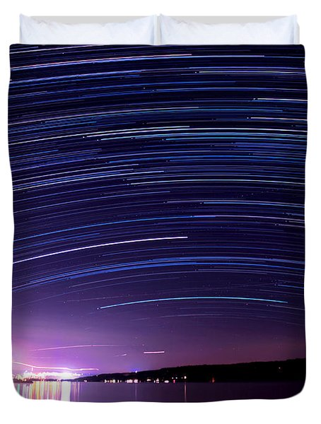 Starry Night On Cayuga Lake Duvet Cover by Paul Ge