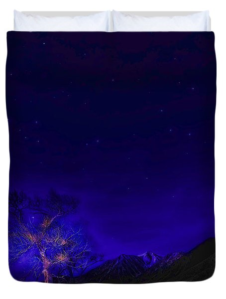Duvet Cover featuring the photograph Starry Starry Night-2 by Nancy Marie Ricketts