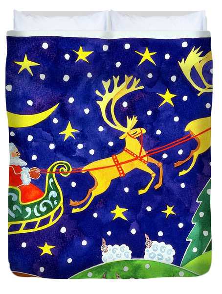 Stars And Snowfall Duvet Cover by Cathy Baxter