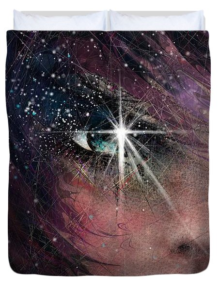 Stars In Her Eyes Duvet Cover by Rachel Christine Nowicki