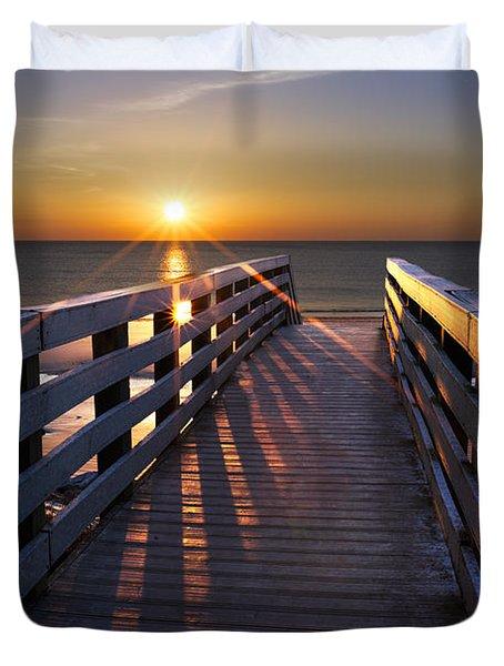 Stars On The Boardwalk Duvet Cover by Debra and Dave Vanderlaan