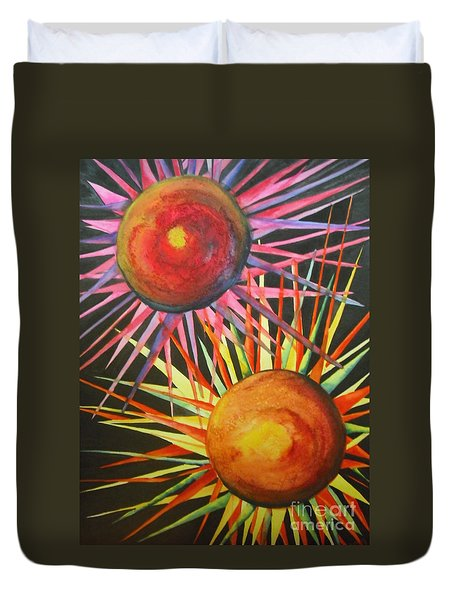 Duvet Cover featuring the painting Stars With Colors by Chrisann Ellis