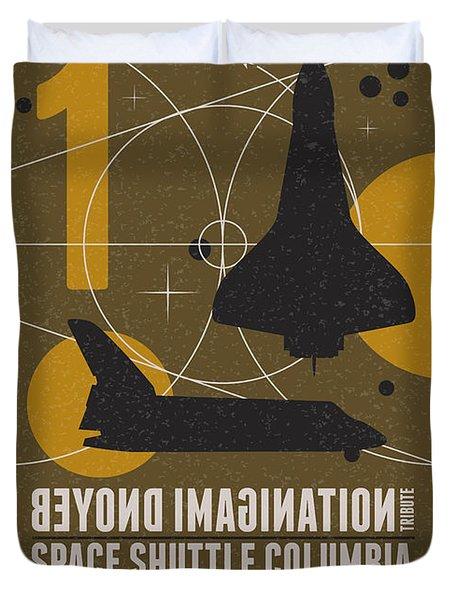 Starschips 01-poststamp - Spaceshuttle Duvet Cover by Chungkong Art