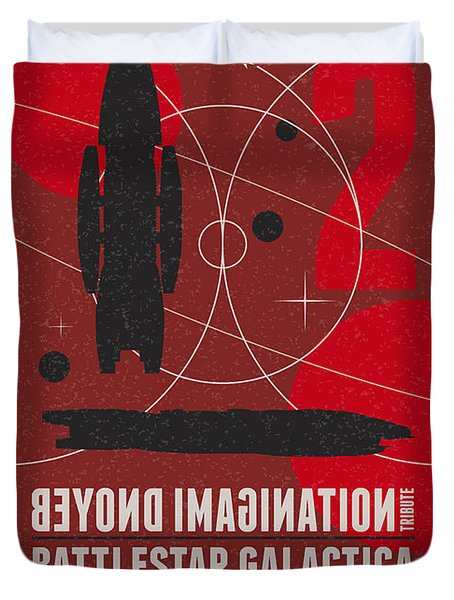 Starschips 02-poststamp - Battlestar Galactica Duvet Cover by Chungkong Art