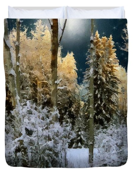 Starshine On A Snowy Wood Duvet Cover by RC deWinter