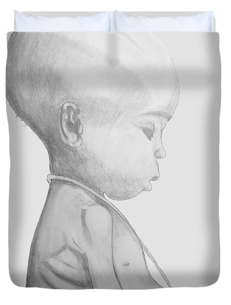 Duvet Cover featuring the drawing Starved African Girl by Justin Moore