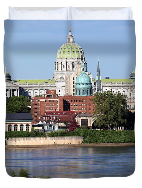 State Capitol Building Harrisburg Pennsylvania Duvet Cover by Bill Cobb