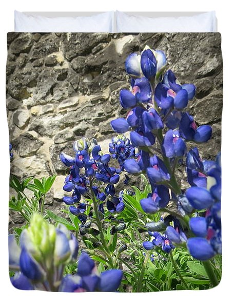 Duvet Cover featuring the photograph State Flower Of Texas - Bluebonnets by Ella Kaye Dickey