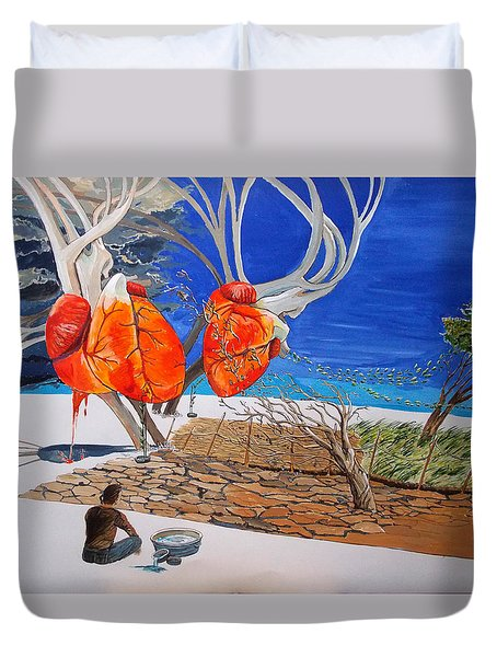 State Of Emotion The Pulse Let It Work... Duvet Cover by Lazaro Hurtado