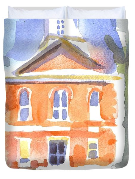 Stately Courthouse With Police Car Duvet Cover