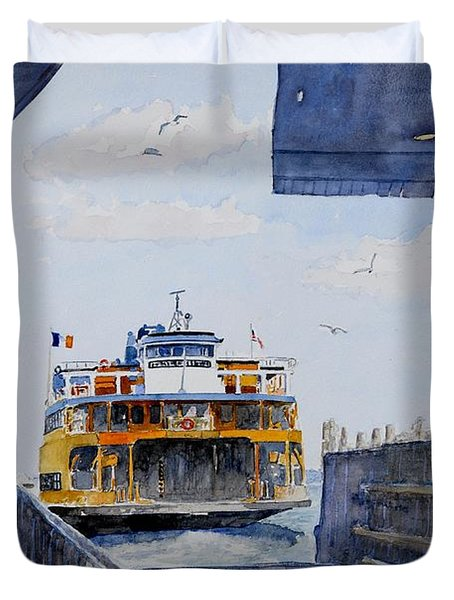 Staten Island Ferry Docking Duvet Cover by Anthony Butera
