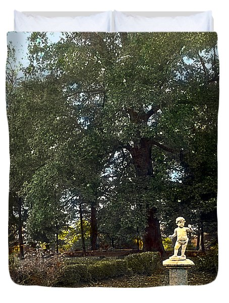 Statue And Tree Duvet Cover by Terry Reynoldson