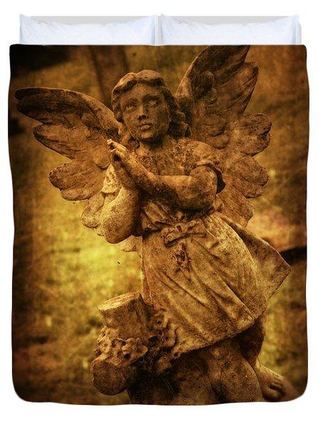 Statue Of Angel Duvet Cover by Amanda Elwell