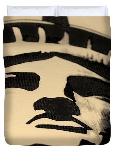 Statue Of Liberty In Dark Sepia Duvet Cover by Rob Hans