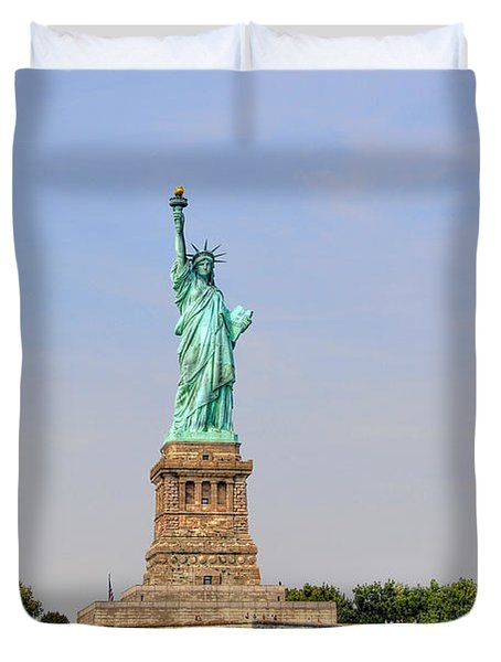 Statue Of Liberty Macro View Duvet Cover by Randy Aveille