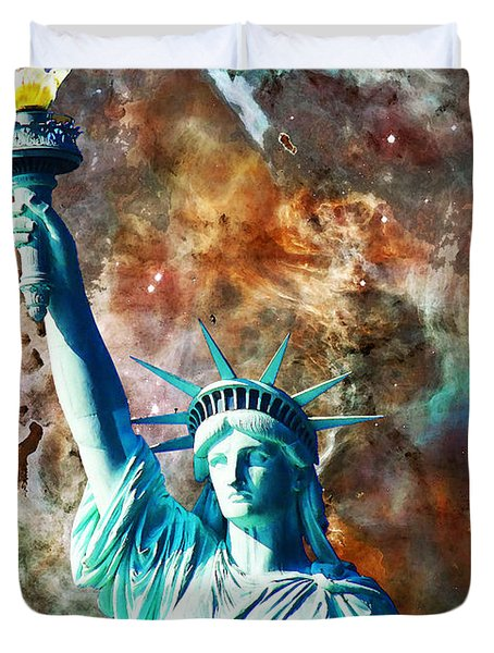 Statue Of Liberty - She Stands Duvet Cover by Sharon Cummings