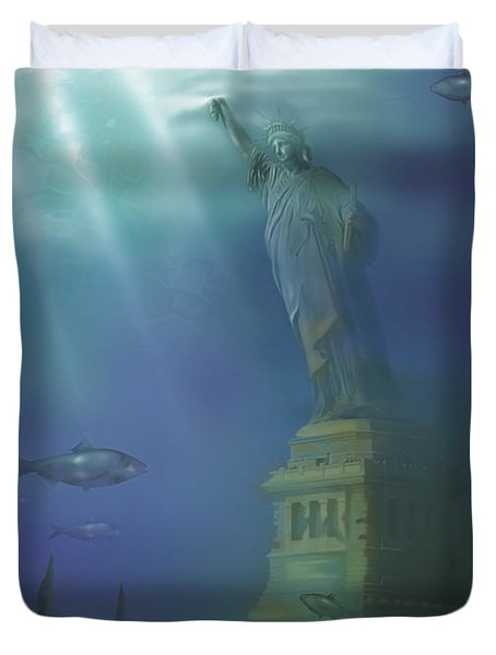 Statue Of Liberty Under Water Duvet Cover