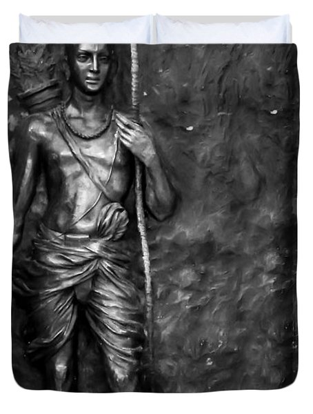 Statue Of Lord Sri Ram Duvet Cover by Kiran Joshi