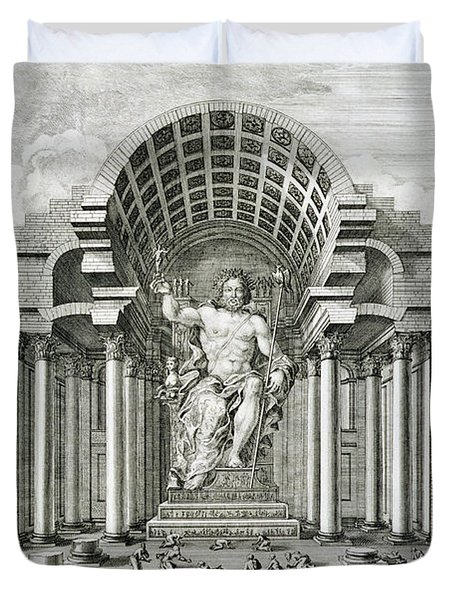 Statue Of Olympian Zeus Duvet Cover by Johann Bernhard Fischer von Erlach
