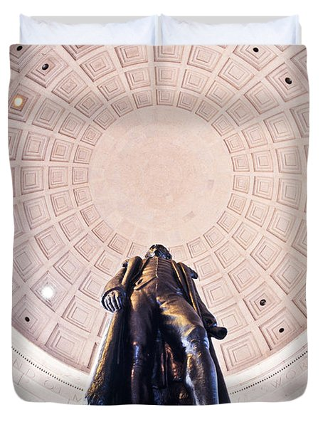 Statue Of Thomas Jefferson Duvet Cover by Panoramic Images