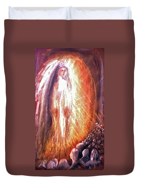 Statues At The Shrine Duvet Cover