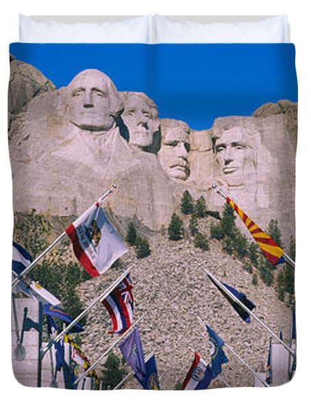 Statues On A Mountain, Mt Rushmore, Mt Duvet Cover by Panoramic Images
