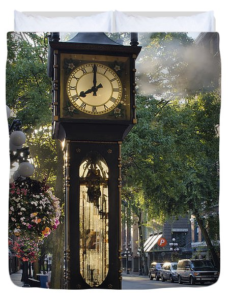 Steam Clock At Gastown Vancouver In The Morning Duvet Cover