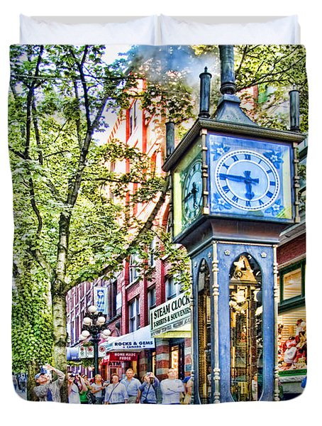 Steam Clock In Vancouver Gastown Duvet Cover