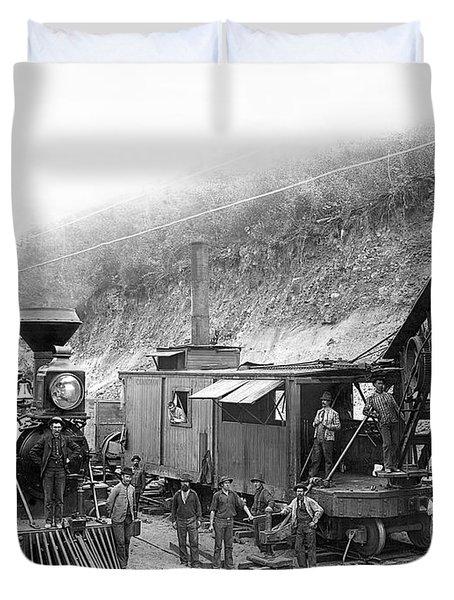 Steam Locomotive And Steam Shovel 1882 Duvet Cover by Daniel Hagerman