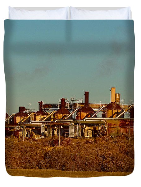 Duvet Cover featuring the photograph Steam Plant In Cymric Field by Lanita Williams