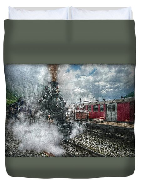 Duvet Cover featuring the photograph Steam Train by Hanny Heim