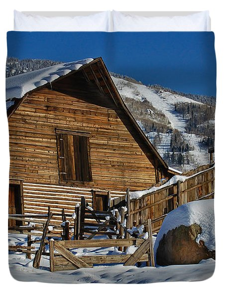 Duvet Cover featuring the photograph Steamboat Barn by Don Schwartz