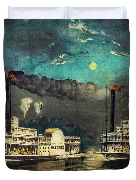 Duvet Cover featuring the digital art Steamboat Racing On The Mississippi by Lianne Schneider