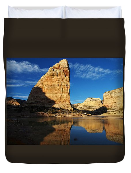 Steamboat Rock In Dinosaur National Monument Duvet Cover