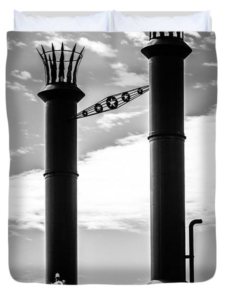 Steamboat Smokestacks Black And White Picture Duvet Cover by Paul Velgos
