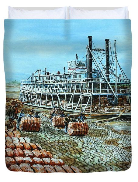 Steamboat Unloading Cotton In Memphis Duvet Cover by Karl Wagner