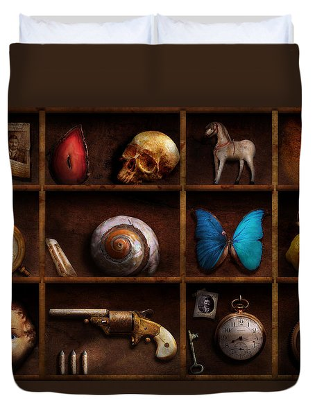 Steampunk - A Box Of Curiosities Duvet Cover by Mike Savad