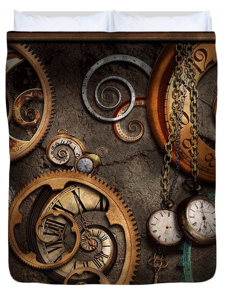 Steampunk - Abstract - Time Is Complicated Duvet Cover