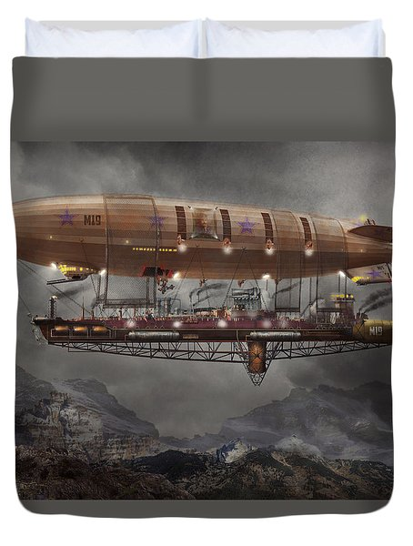 Steampunk - Blimp - Airship Maximus  Duvet Cover