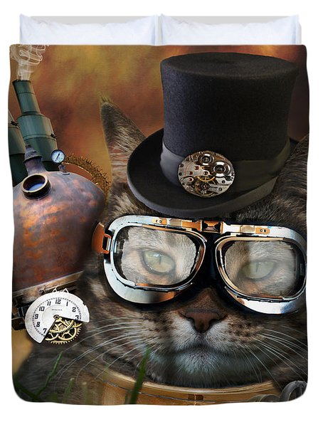 Steampunk Cat Duvet Cover by Juli Scalzi