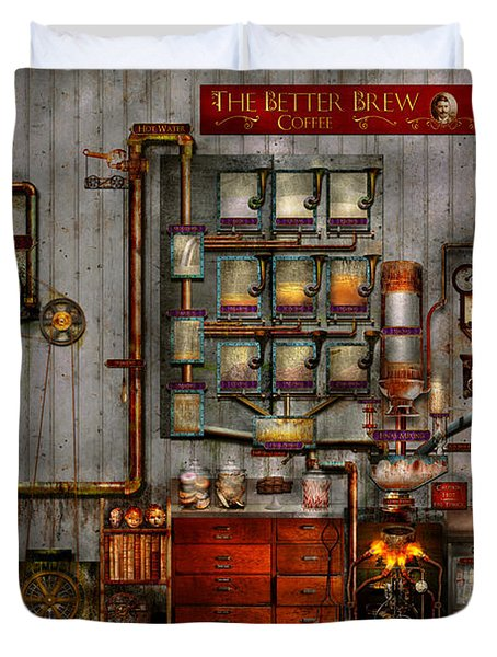 Steampunk - Coffee - The Company Coffee Maker Duvet Cover by Mike Savad
