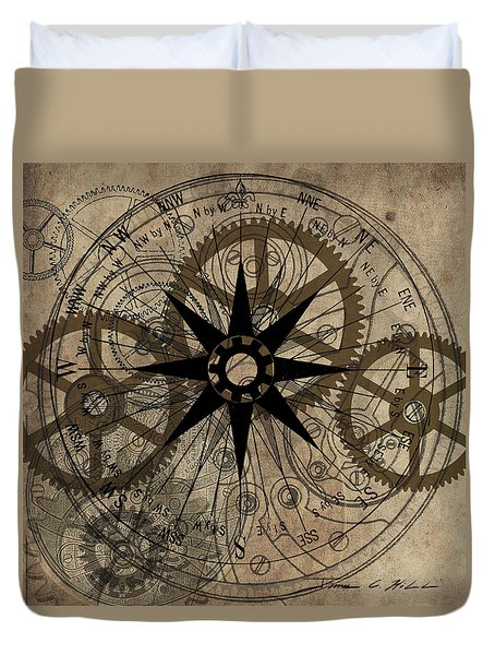 Steampunk Gold Gears II  Duvet Cover