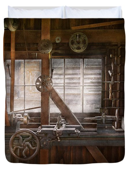 Steampunk - Machinist - My Tinkering Workshop  Duvet Cover by Mike Savad