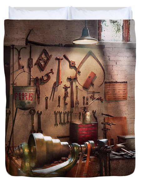 Steampunk - Machinist - The Inventors Workshop  Duvet Cover by Mike Savad
