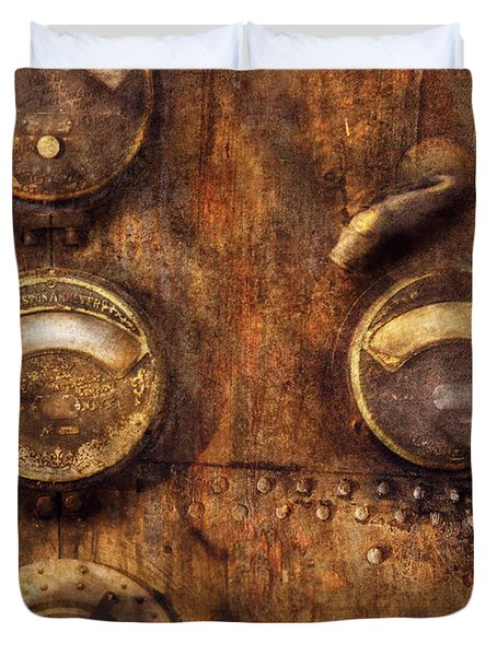 Steampunk - Meters D-66 Duvet Cover by Mike Savad