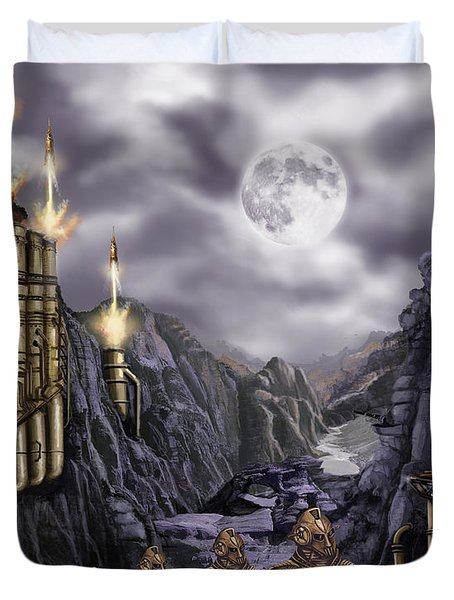 Steampunk Moon Invasion Duvet Cover