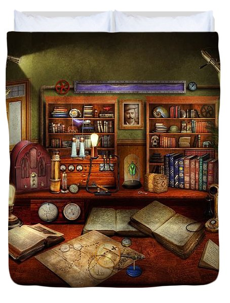 Steampunk - My Busy Study Duvet Cover by Mike Savad