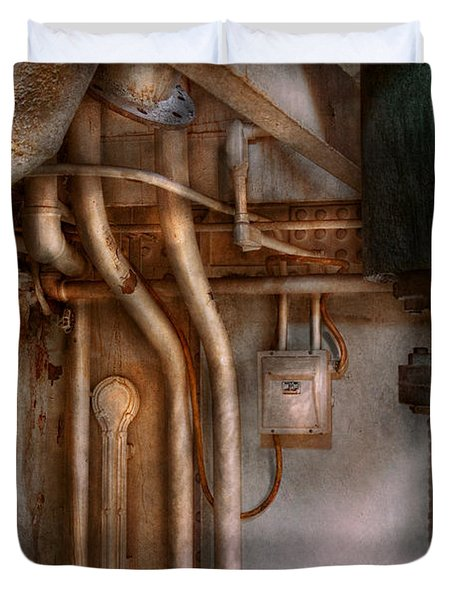 Steampunk - Plumbing - Industrial Abstract  Duvet Cover by Mike Savad